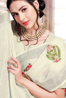 Cotton Silk Beautiful Embroidery Designer saree In Light Yellow Colour