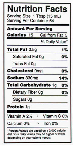 Jerk It! Jerky Marinade Nutrition Facts