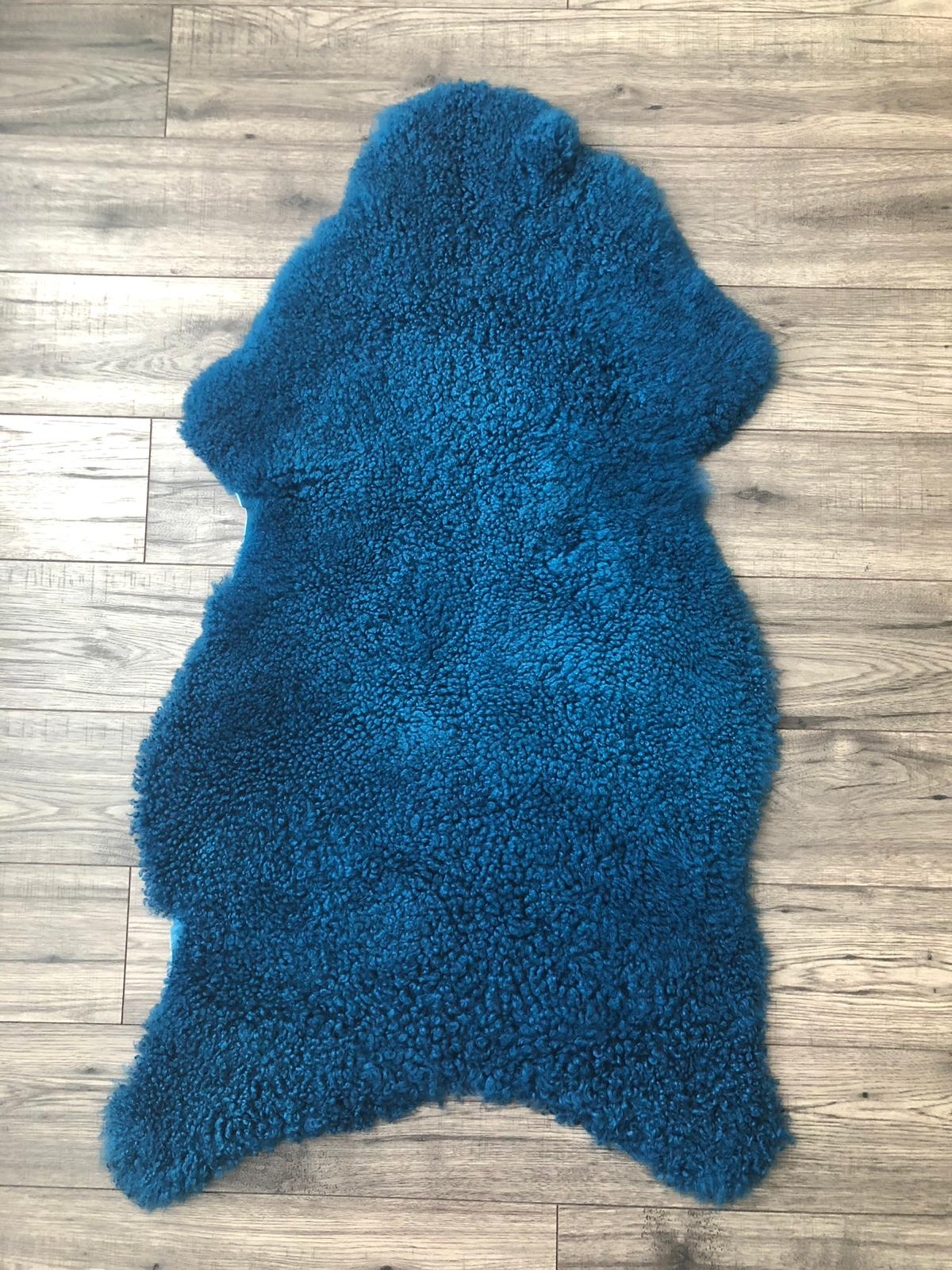 Sheepskin Rug Curly Navy Blue