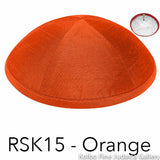 RSK15 - Orange Kippah Bulk Kippot Raw Silk