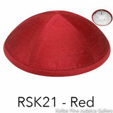 RSK21 - Red Kippah Bulk Kippot Raw Silk
