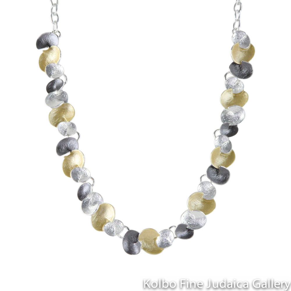 Necklace, Linked Round Droplets, Two Layers, Sterling Silver and Gold Plated