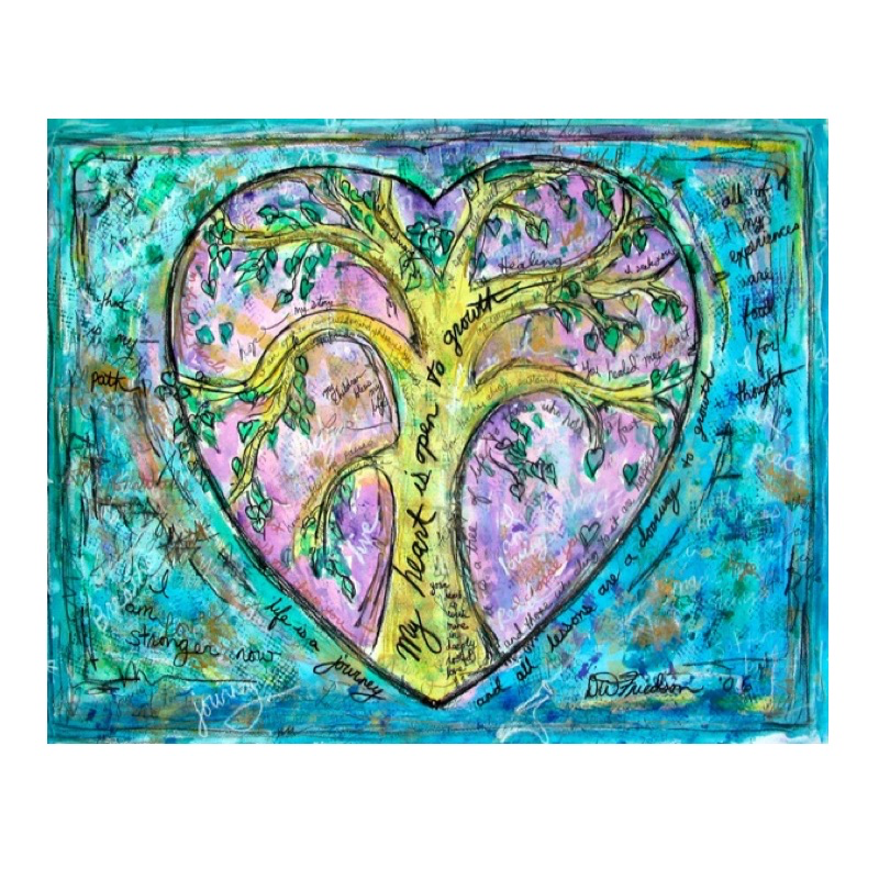 Heart with Tree Of Life Theme, Print Of Original Artwork, Framed