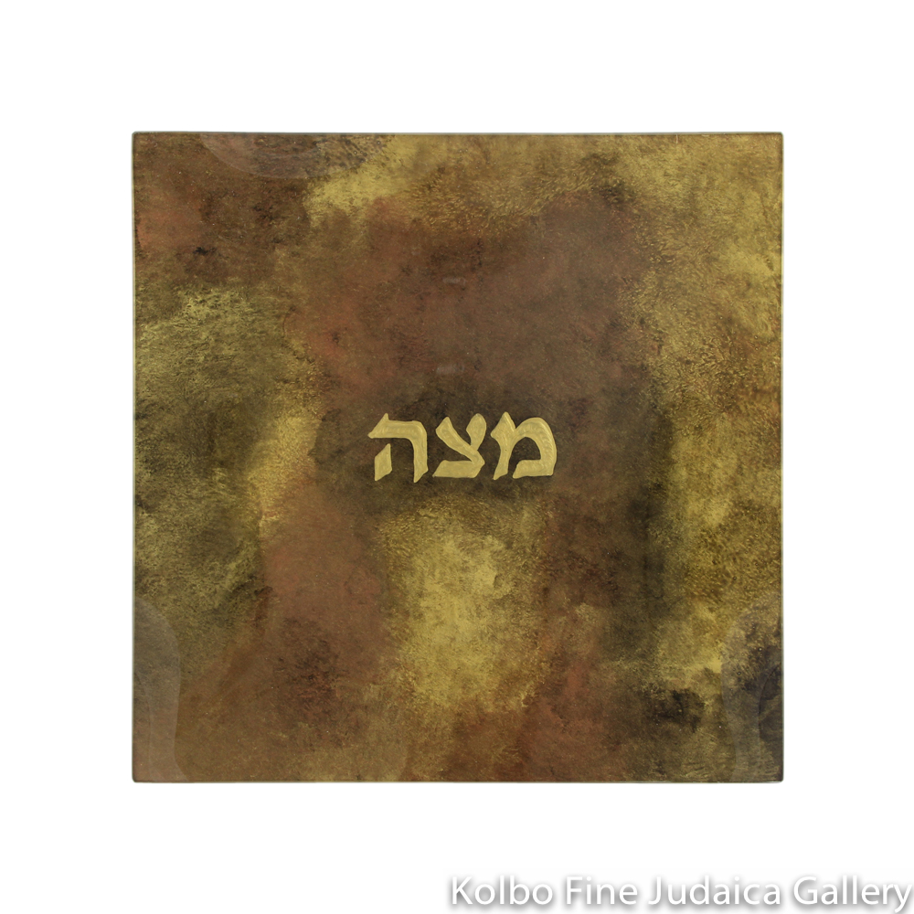 Matzah Plate, Hand-Painted Glass with Copper Tones