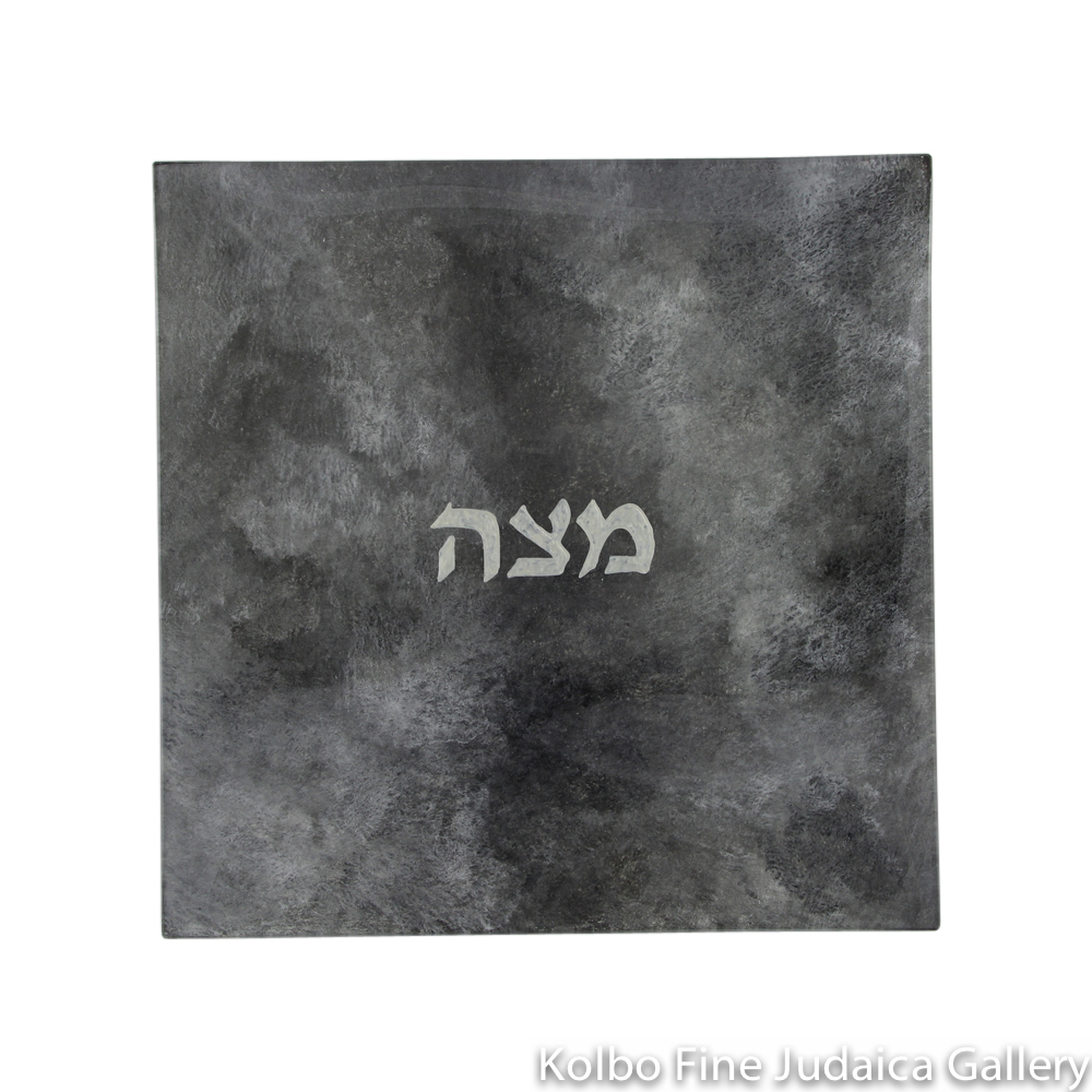 Matzah Plate, Hand-Painted Glass with Multi-Gray Tones