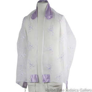 Tallit Set, Lavender Floral Design on Sheer White Organza