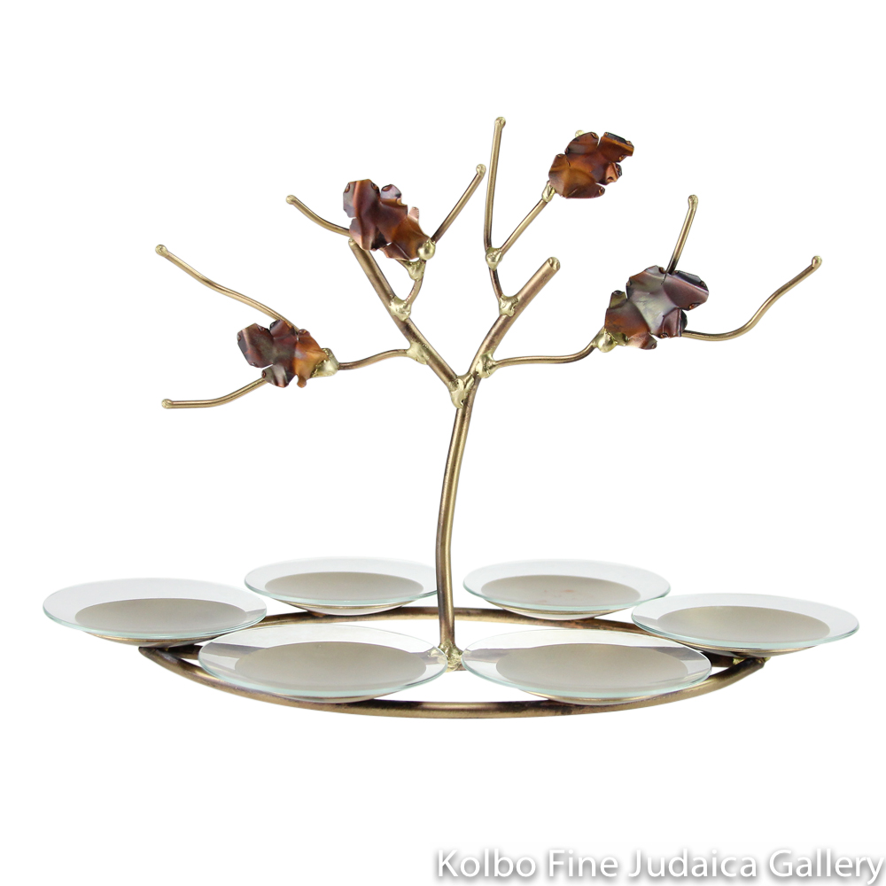 Seder Plate, Copper and Brass, Tree of Life in Center