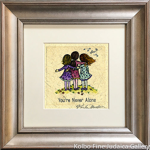 You're Never Alone, Three Girls, Mini, Hand-Painted, Framed