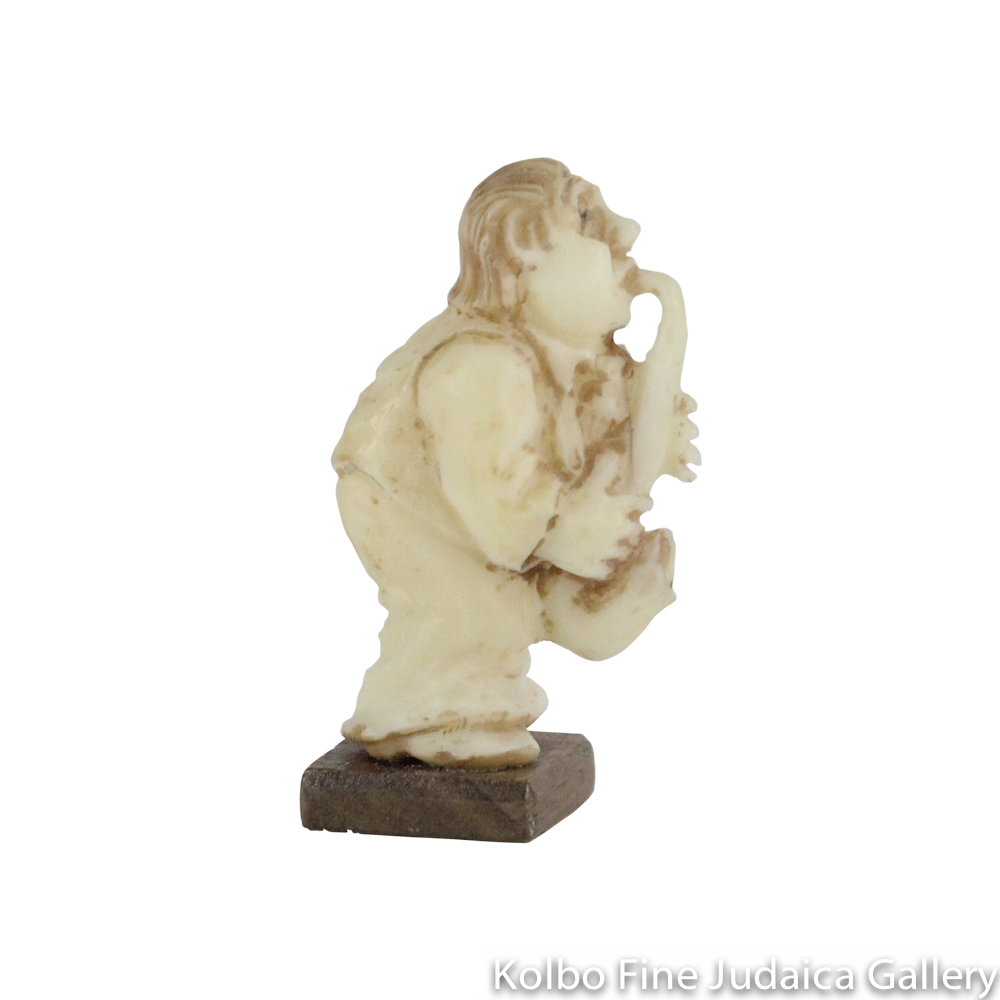 Collectable, Standing Saxophone Player, Small Size, Hand-Carved from Tagua Nut and Wood