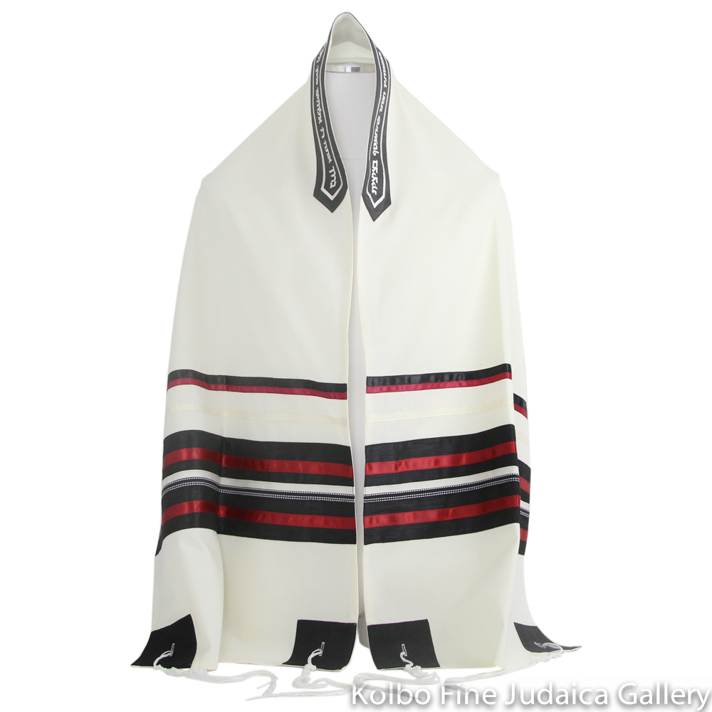 Tallit Set, Red, Black, and Cream Ribbons on Fine White Wool