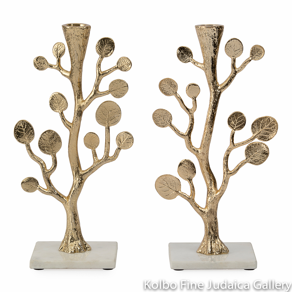 Candlesticks, Golden Botanical Leaf Design, Goldtone and Marble