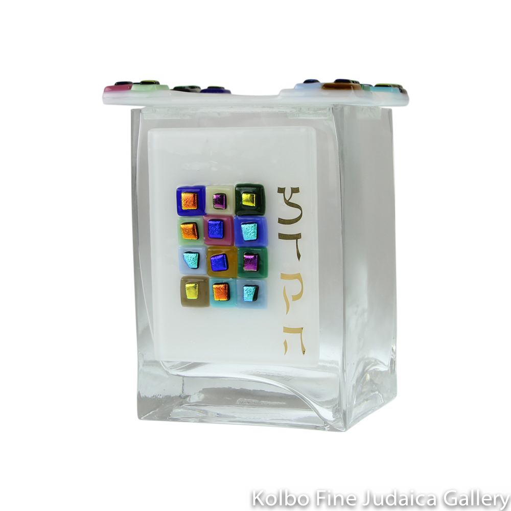 Tzedakah Box, 12 Tribes Design, White, Fused Glass