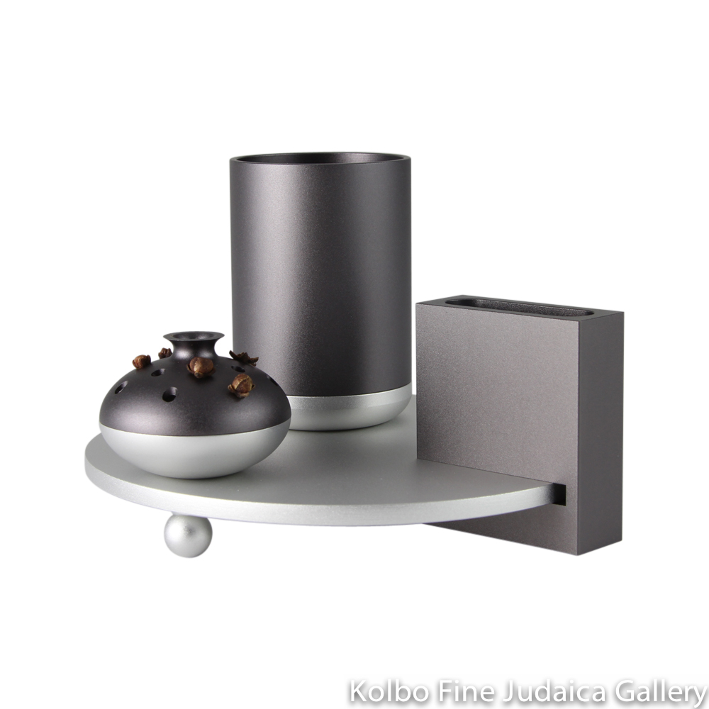 Havdalah Set, Dark Gray and Silver Modern Design, Anodized Aluminum