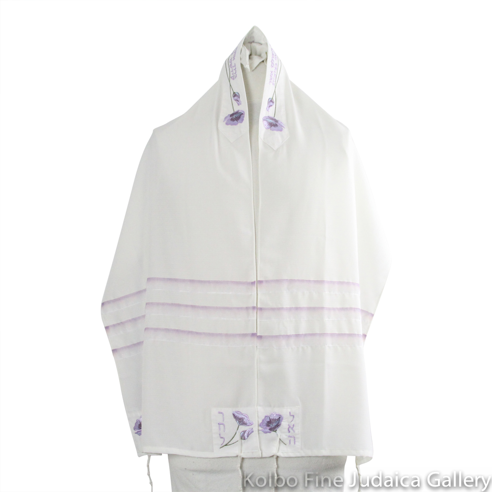 Tallit Set, Four Matriarchs Design with Lavender Detailing, Viscose