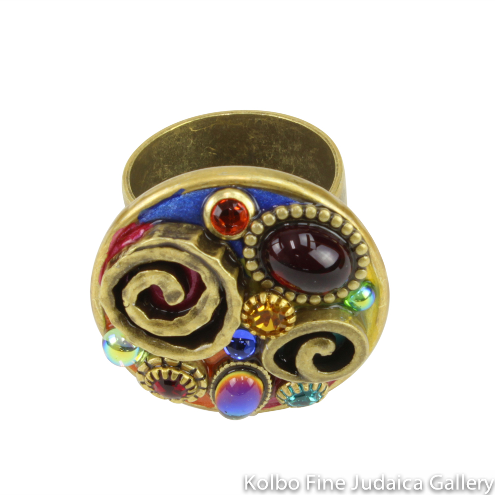 Ring, Large Round Shape with Multicolored Bright Stones and Swarovski Crystals, Adjustable Size