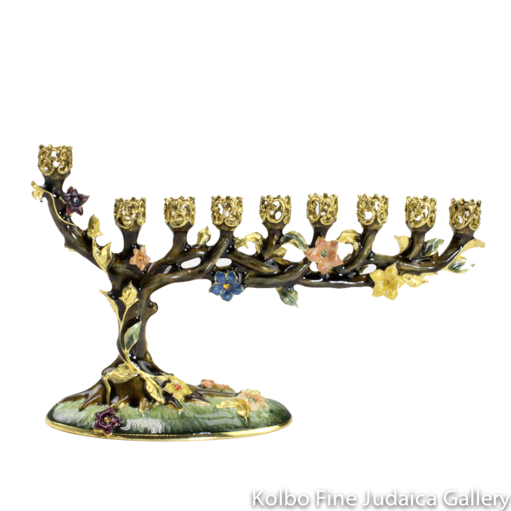 Menorah, Blossoming Tree Design in Brown, Pewter with Enamel and Swarovski Crystals