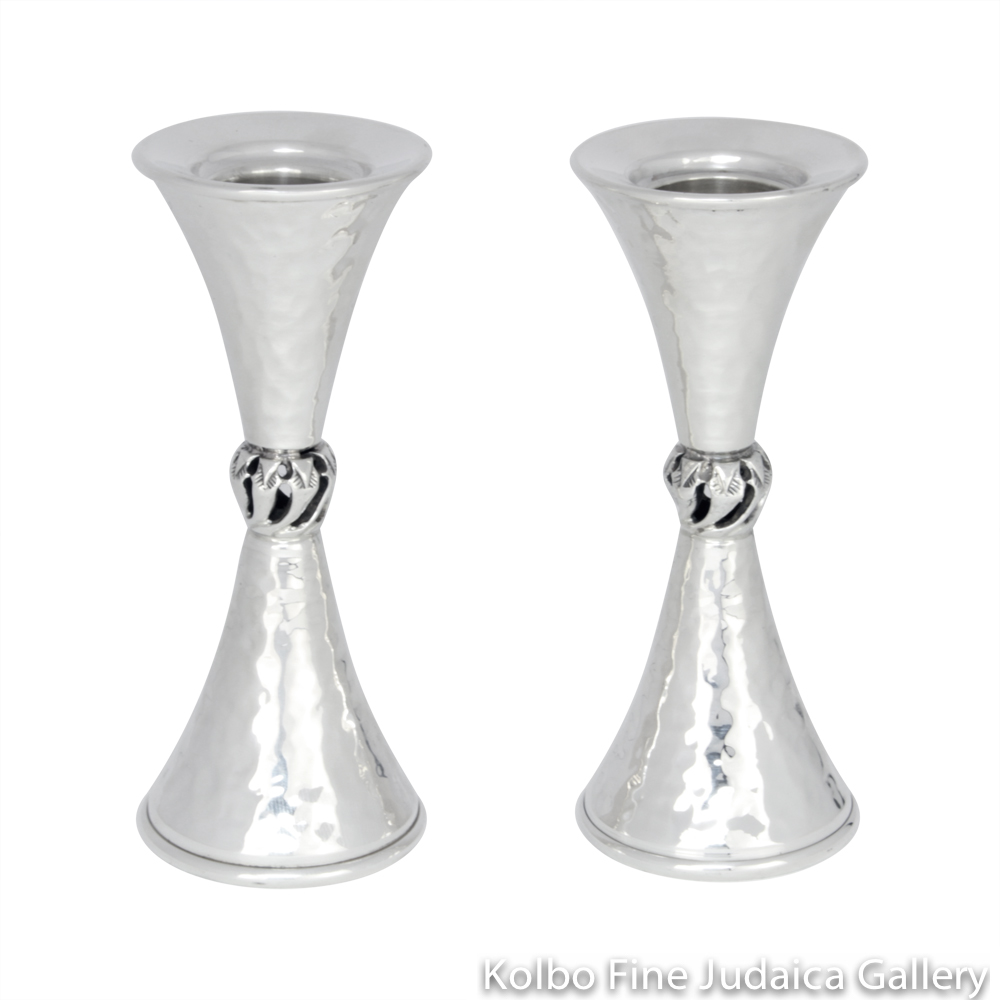 Candlesticks, Small Hammered Hourglass Design with Central Twist, Sterling Silver