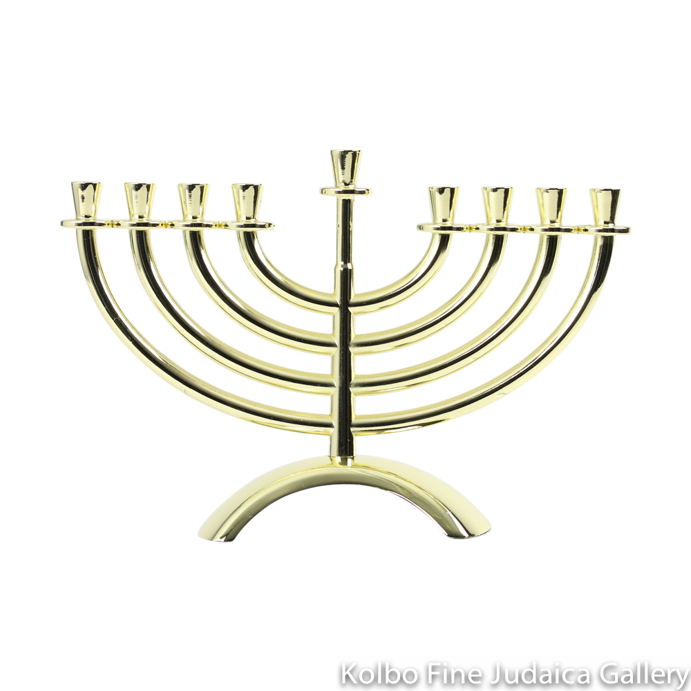 Menorah, Traditional Design with Arched Base, Gold Plate over Brass