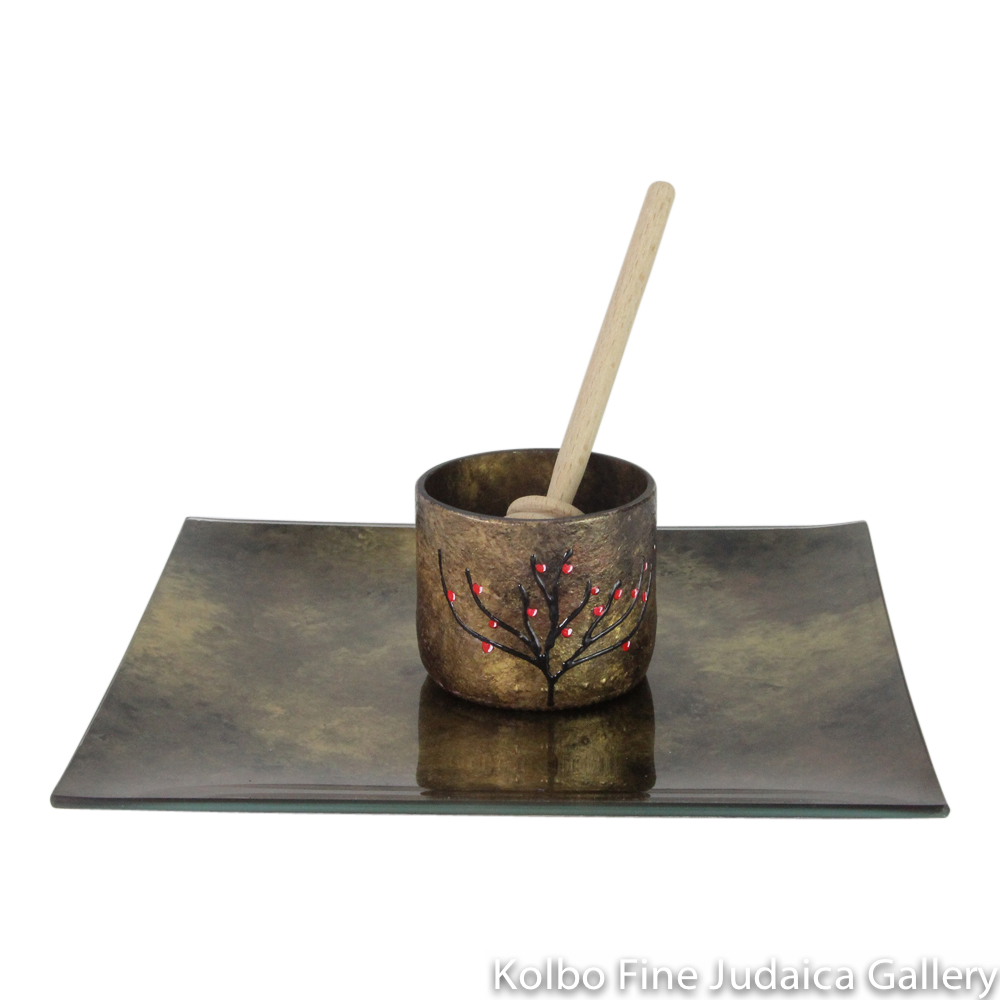Honey and Apple Set, Hand-Painted Glass with Apple Tree on Cup in Copper Tones