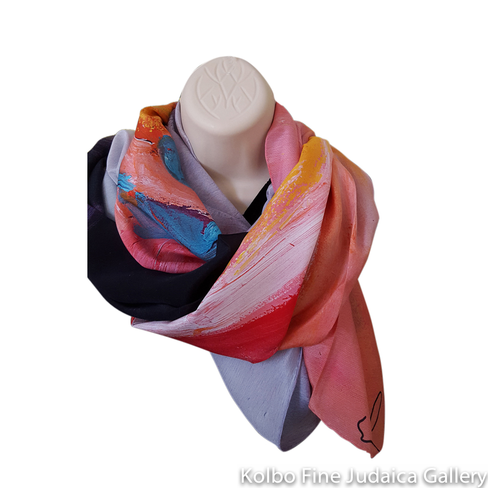 Scarf, Melody, Design from Original Painting, Hand-Hemmed Crepe de Chinen Silk