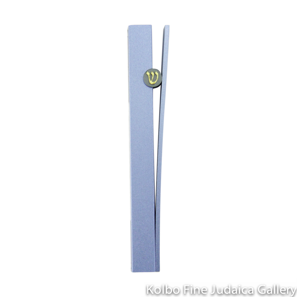 Mezuzah, Split Design in Light Blue, Anodized Aluminum