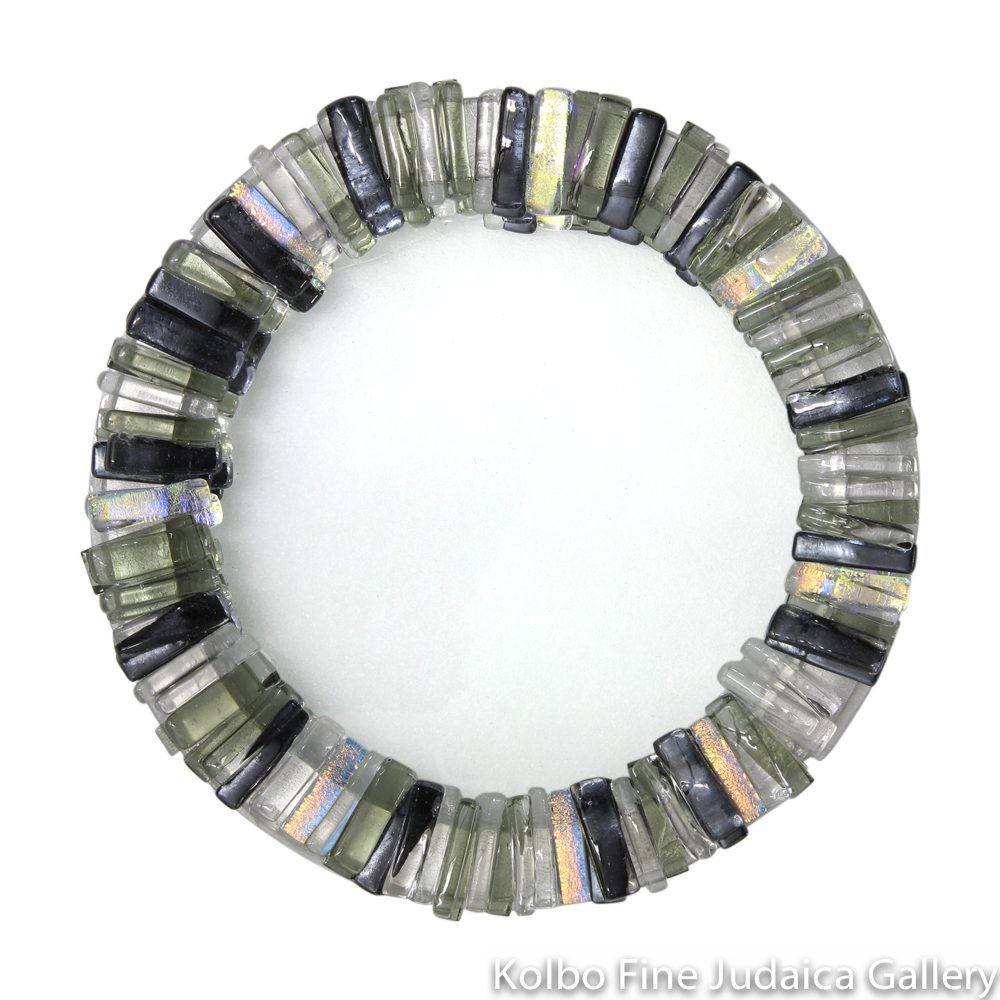 Tray for Kiddush Cup, Round, Gray, Dark Silver, Gold, and Clear Dichroic Glass, Kolbo Exclusive