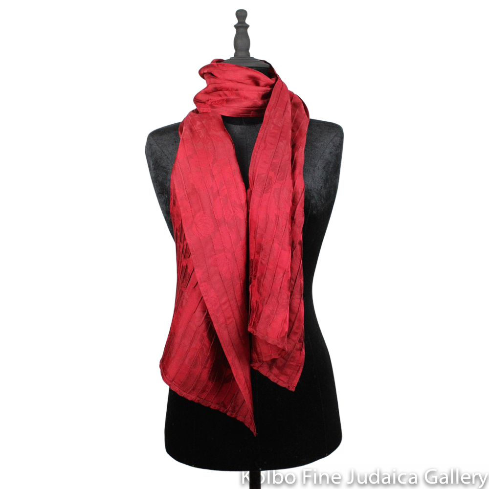 Scarf, Cranberry Pintuck Design, Silk, Hand-Made