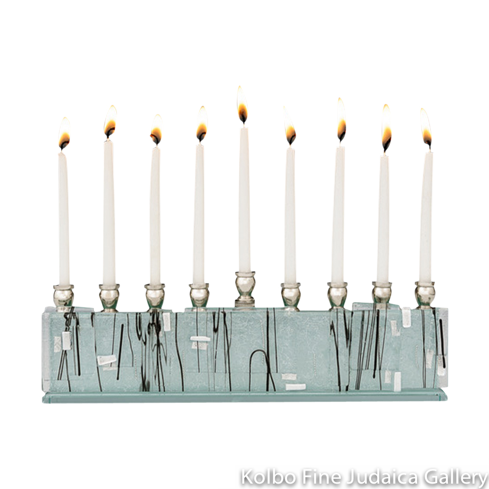 Menorah, Jerusalem Skyline Design on Glass with Black Lines, Silver Dichroic Speckles