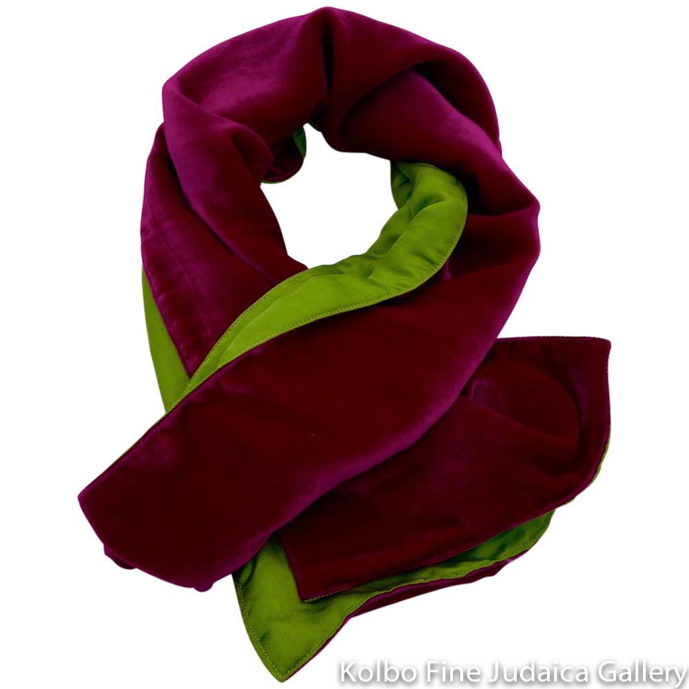 Scarf, Fuchsia and Lime Green Two-Tone Design, Velvet and Silk, Hand-Made