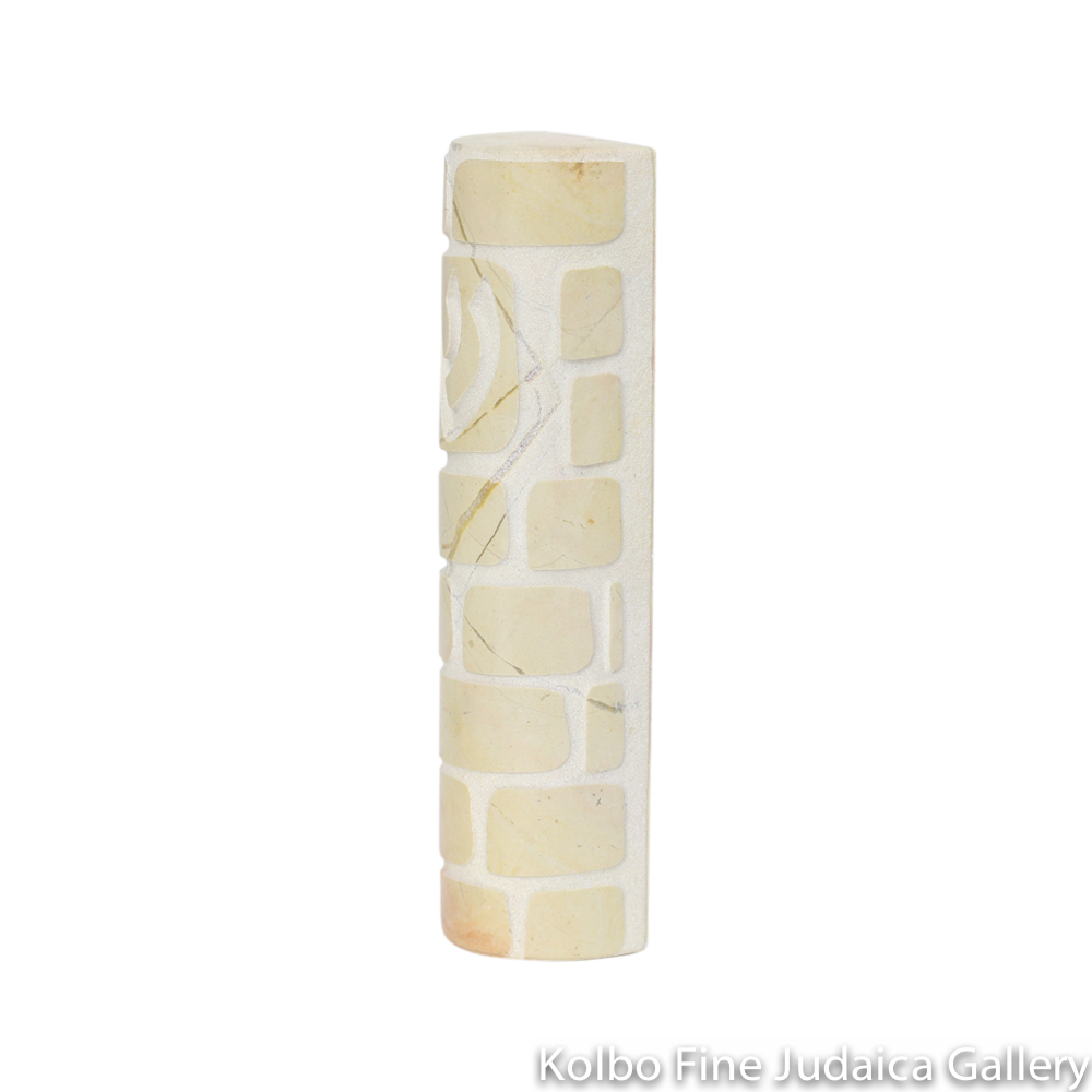 Mezuzah, Rounded Western Wall Design with Shin, Jerusalem Stone