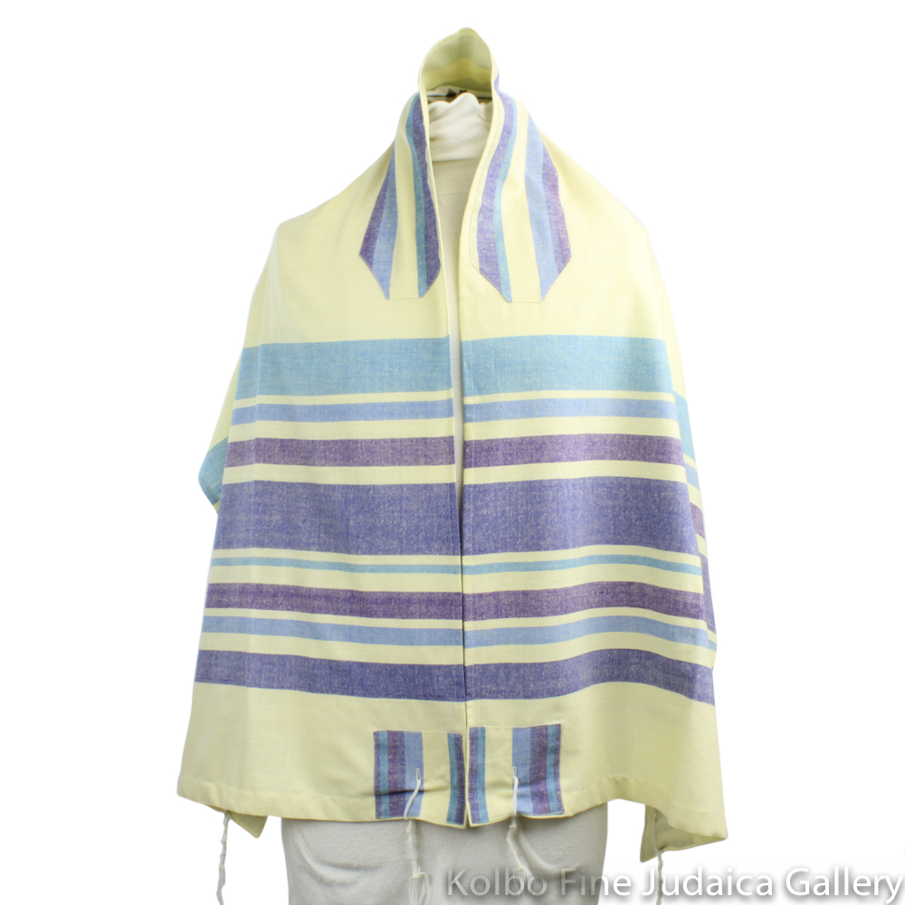 Tallit Set, Cream with Purple and Blue, Hand-Spun Cotton and Silk, with Bag, Ethically and Sustainably Made