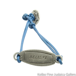 Bracelet, Believe Design in Hebrew and English, Pewter with Leather Cord
