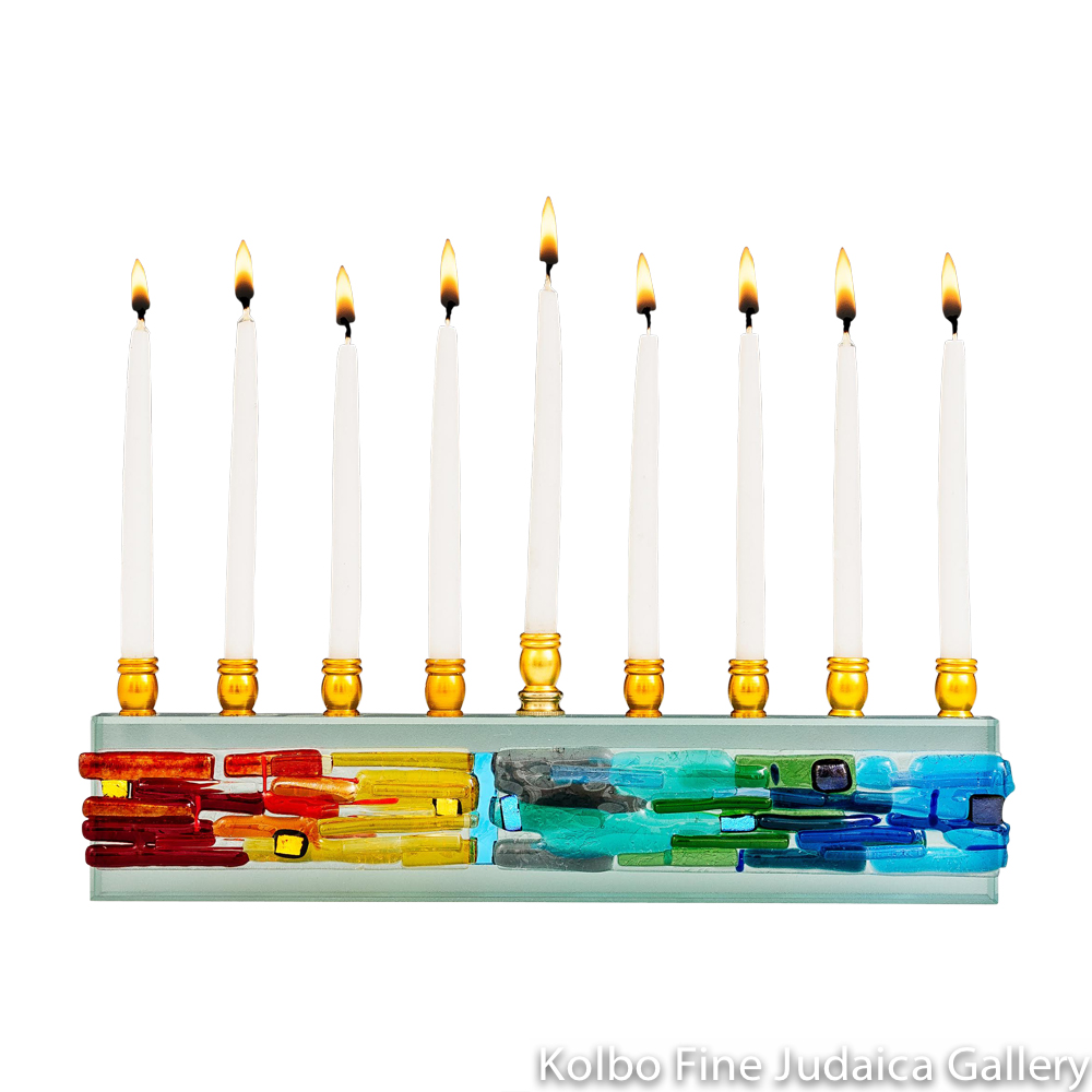 Menorah, Parting of the Sea Design, Rainbow, Fused Glass