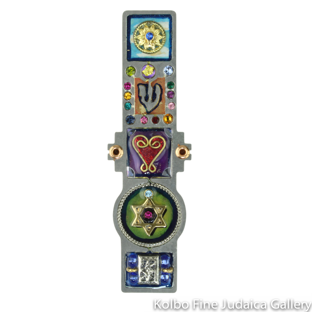 Mezuzah, Heart and Star Design, Resin on Stainless Steel with Crystals