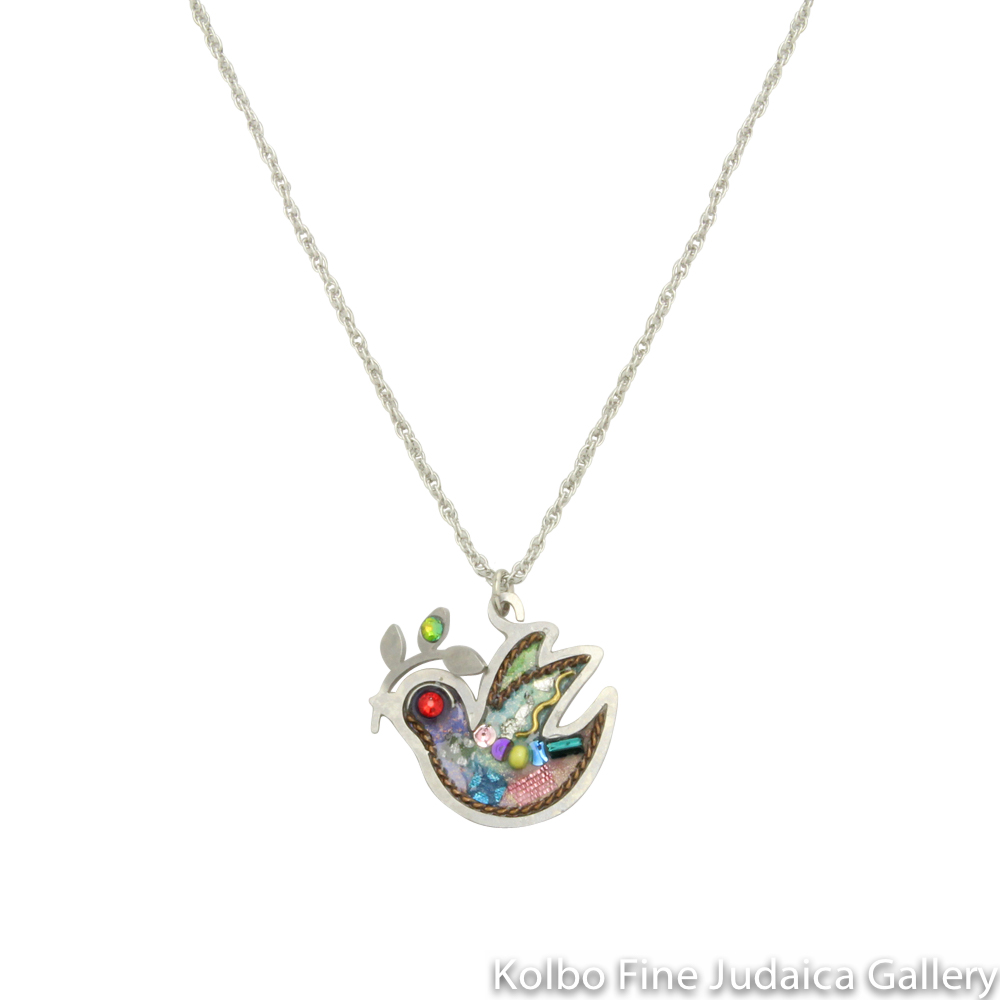 Necklace, Dove with Olive Branch, Resin on Stainless Steel with Crystals and Beads