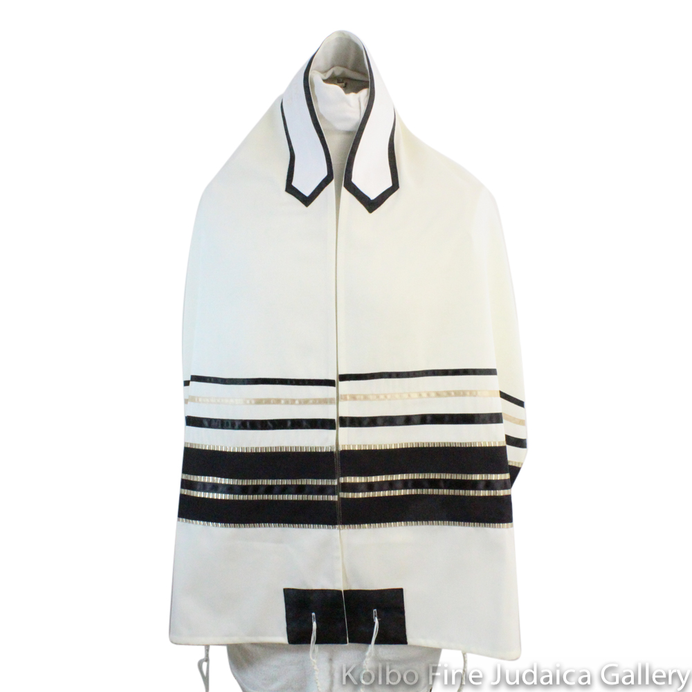 Tallit Set, Black Stripes with Gold and Champagne Detail on White Wool