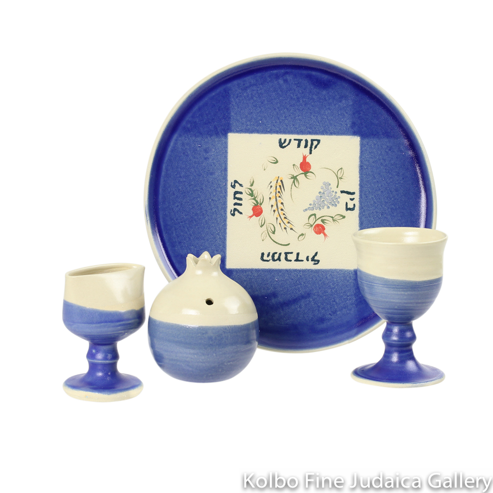 Havdalah Set, Blue Flower Design, Ceramic