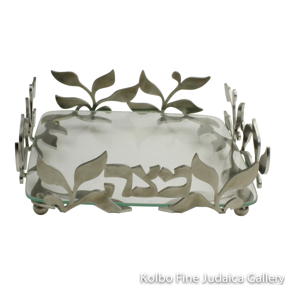 Matzah Plate, Spring Design, Lasercut Stainless Steel with Glass