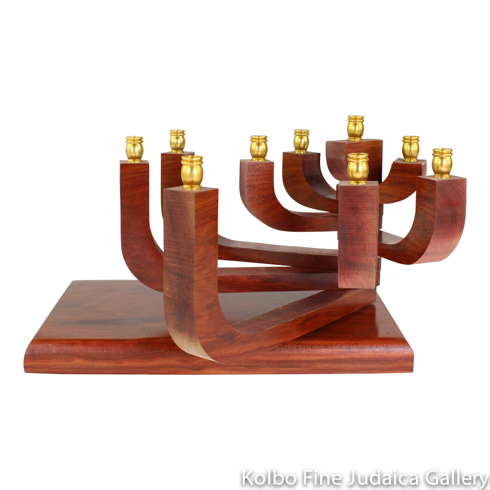 Menorah, Kinetic Design with Movable Arms in Redheart Wood