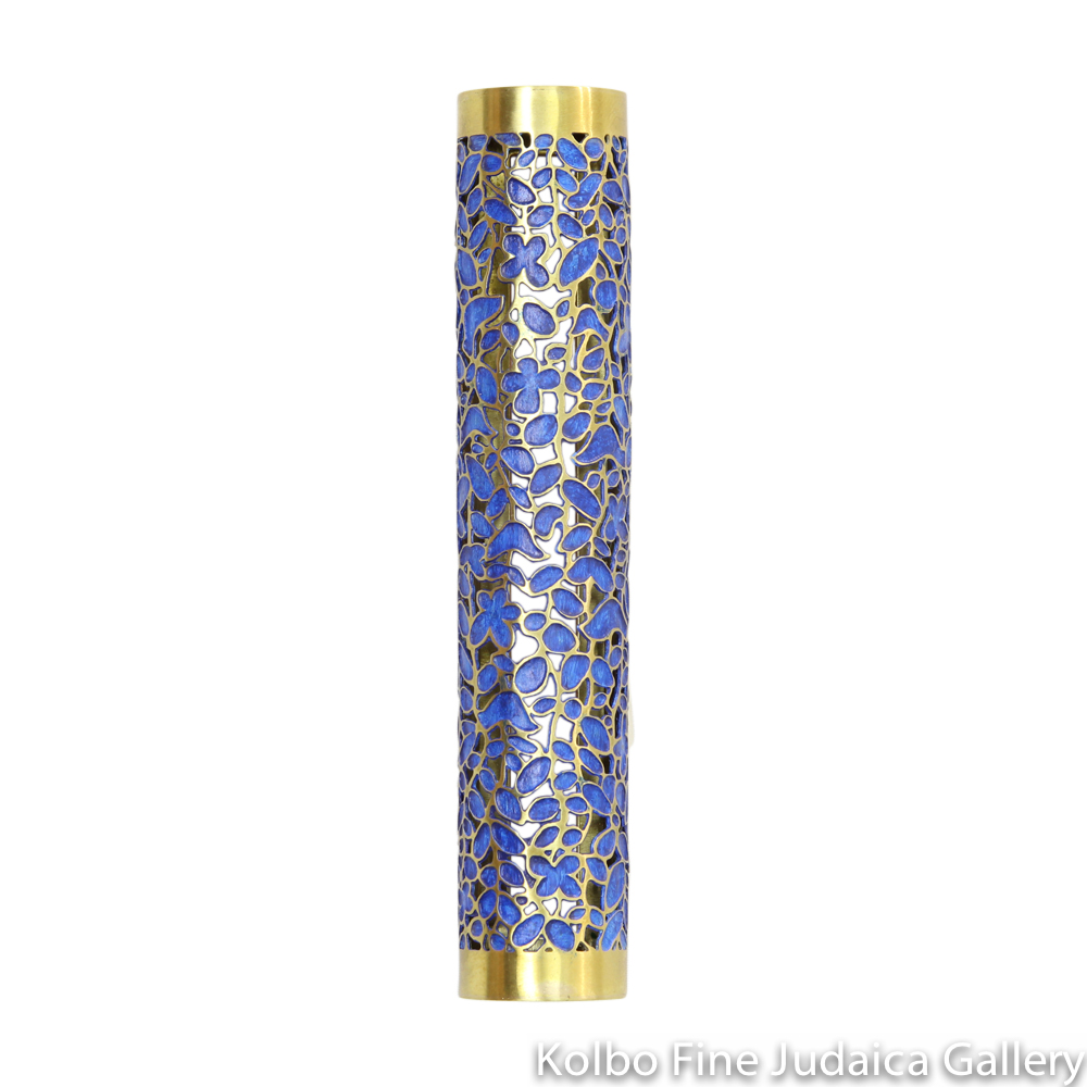 Mezuzah, Blue Jungle Design, Hand-Crafted Brass, Tubular with Tape Backing