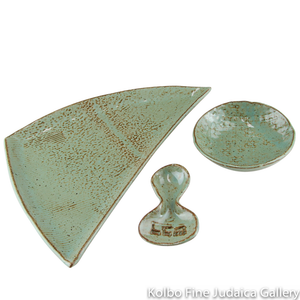 Honey And Apple Set, Celadon Green Glazed Hand-Formed Ceramic Triangular Plate, Matching Bowl and Spoon