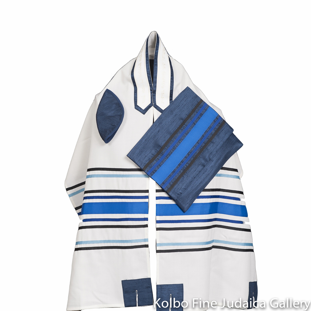 Tallit Set, Blue, Black, and Slate Stripes on White Background, Fine Wool