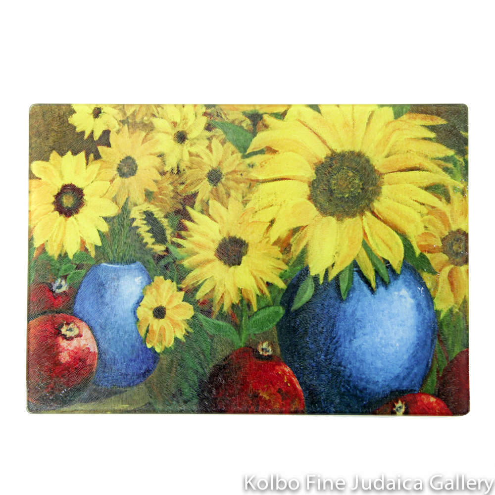Cutting Board, Sunflower Design in Tempered Glass
