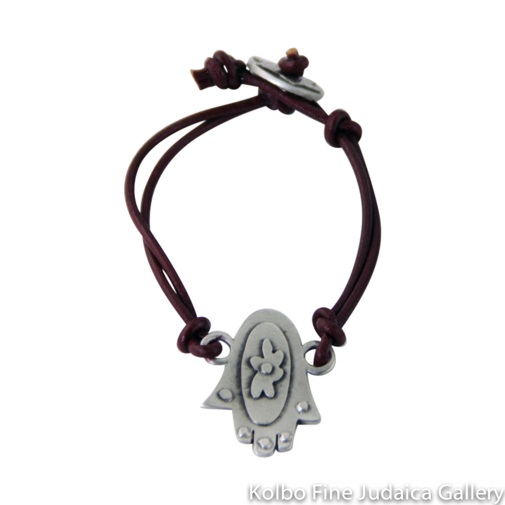 Bracelet, Hamsa Design, Pewter with Leather Cord