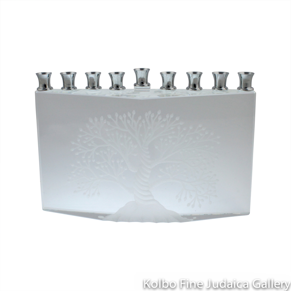 Menorah, Crystal, Tree of Life Design, Triangular Base