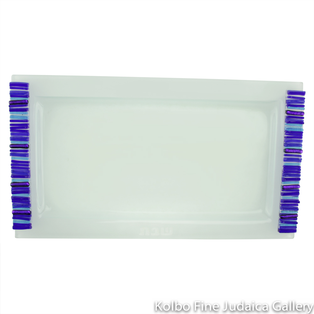 Challah Tray, Iridescent Icicle Design, Cobalt Blue and Frosted Glass