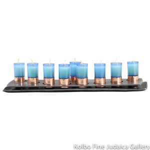 Menorah, Flat Steel Design With Hand Molded Copper Detail, For Use With Oil