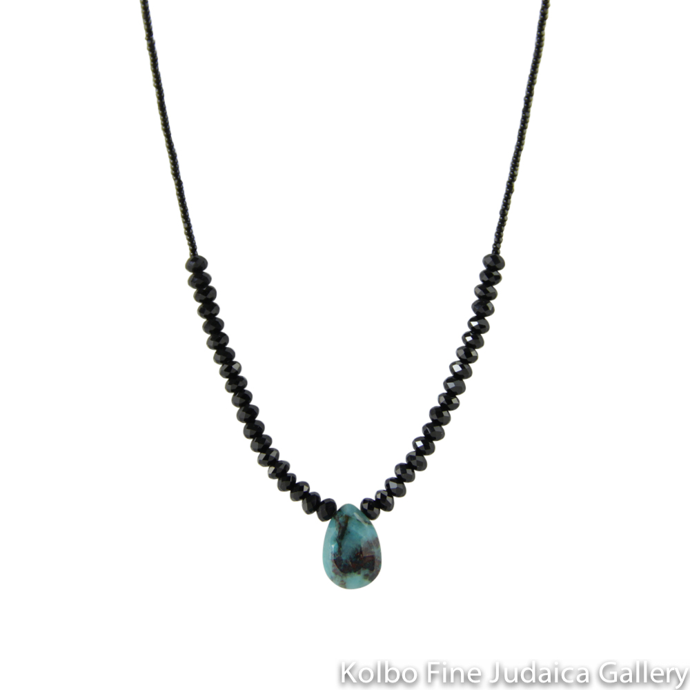 Necklace, Tiny Black Glass Beads with Onyx Rondelles, Malachite Center Drop