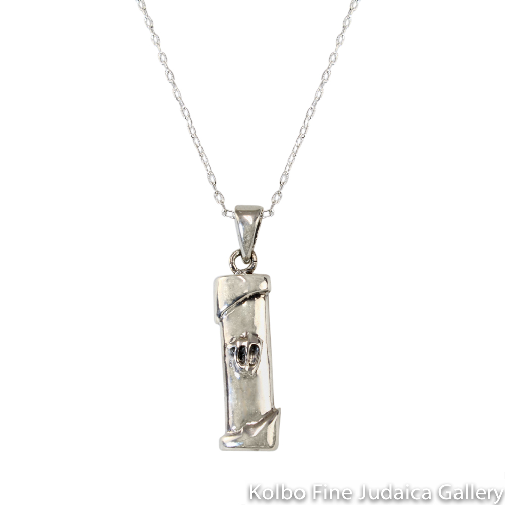 Necklace, Mezuzah, Shin with Diagonal Accents, Sterling Silver