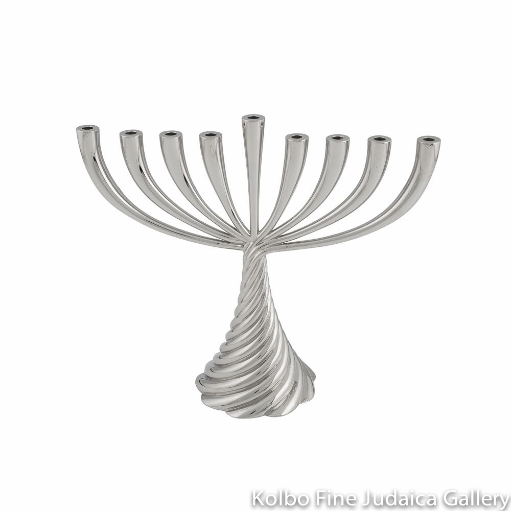 Menorah, Twist Design, Nickel Plate